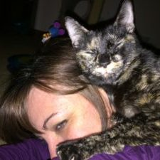 Emily and her cat, Fiona, a Good Mews adoptee!